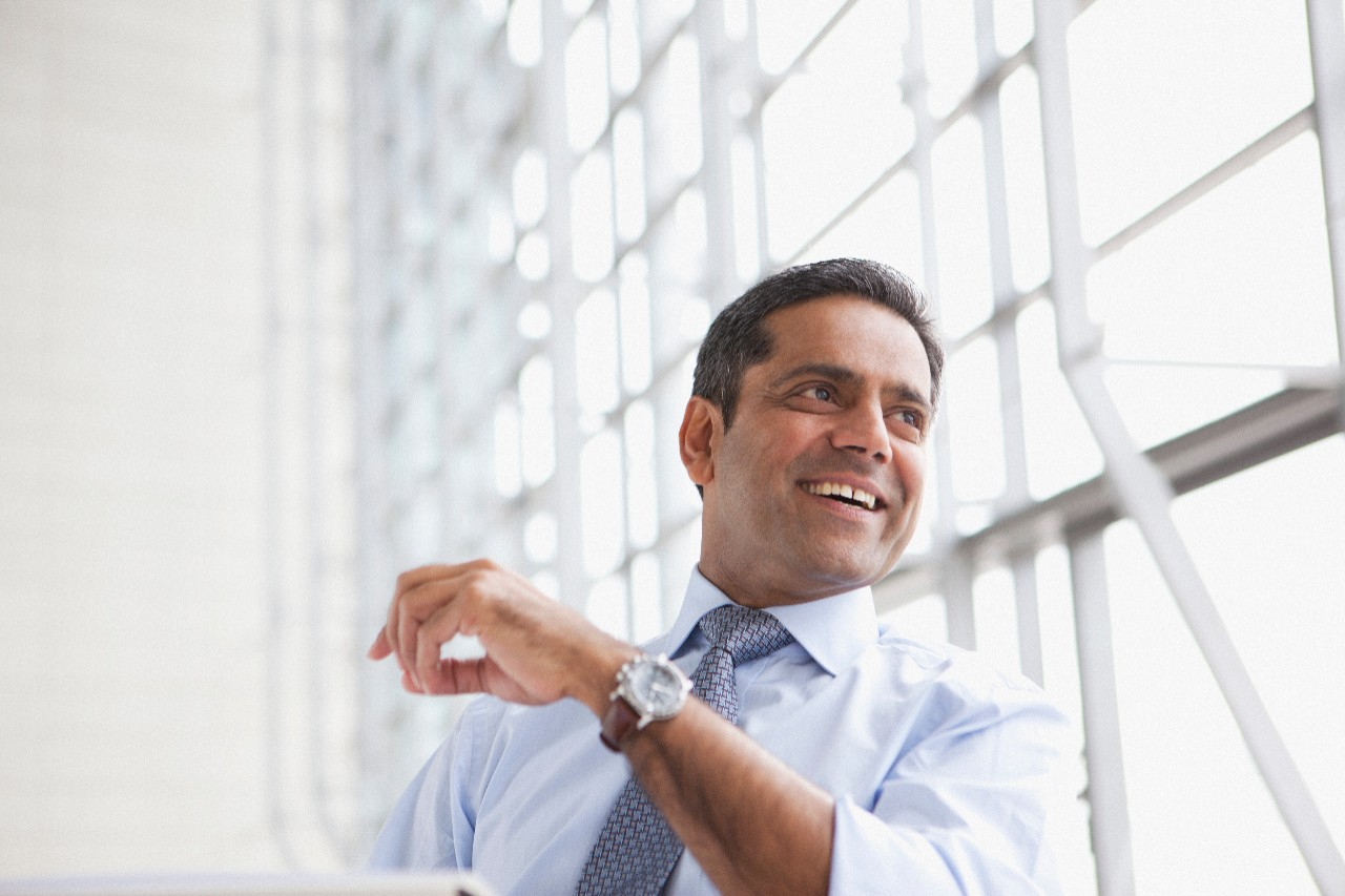 Smiling businessman, office, individual, executive, brightly lit, man